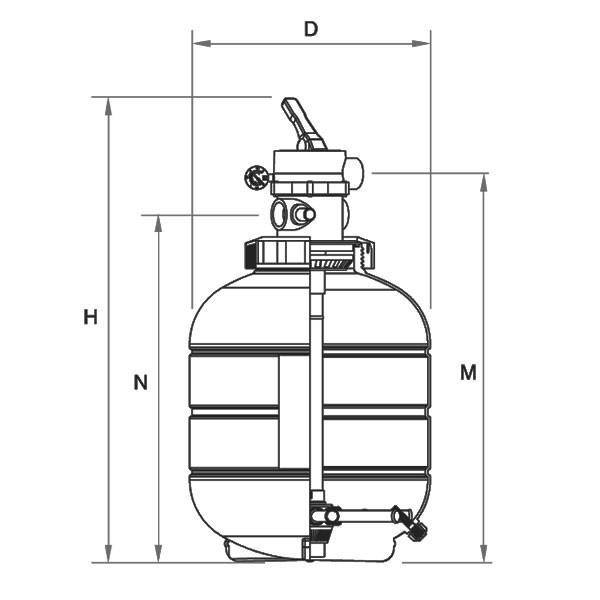 dimensions filtre à sable millenium sortie top