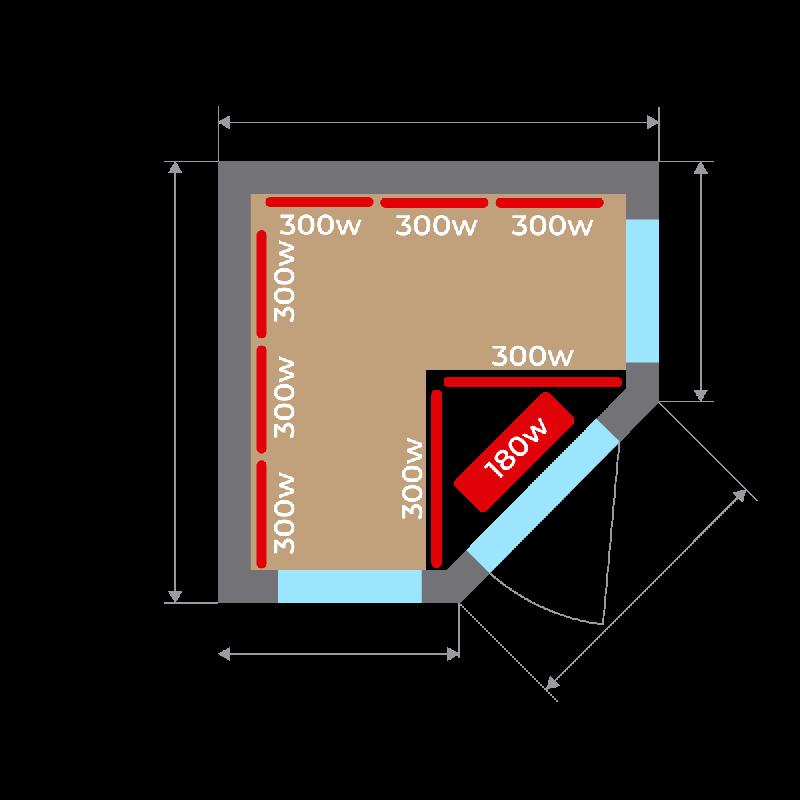 Plano base Sauna Infrarrojos Apollon 3/4 Plazas
