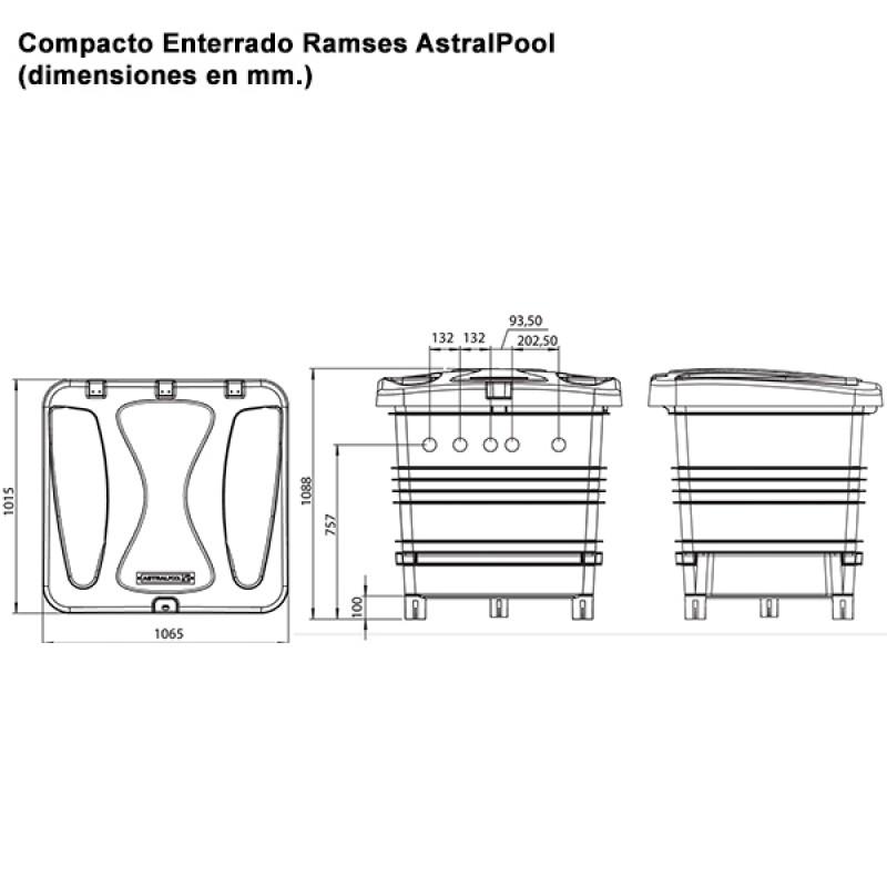 Coffre de filtration enterré Ramses AstralPool - Dimensions
