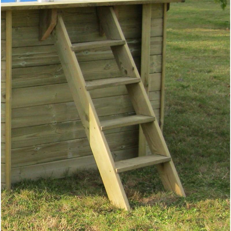 Escalera exterior Piscina madera Gre Vanille