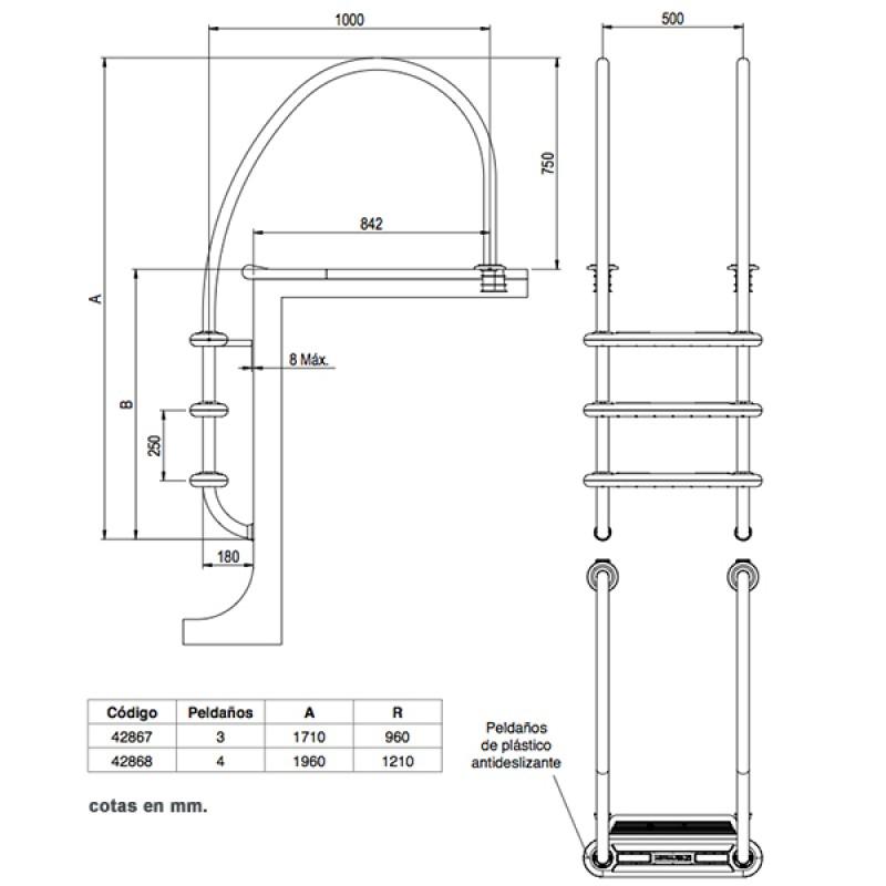 Echelle Komfort 1000 Astralpool - Dimensions