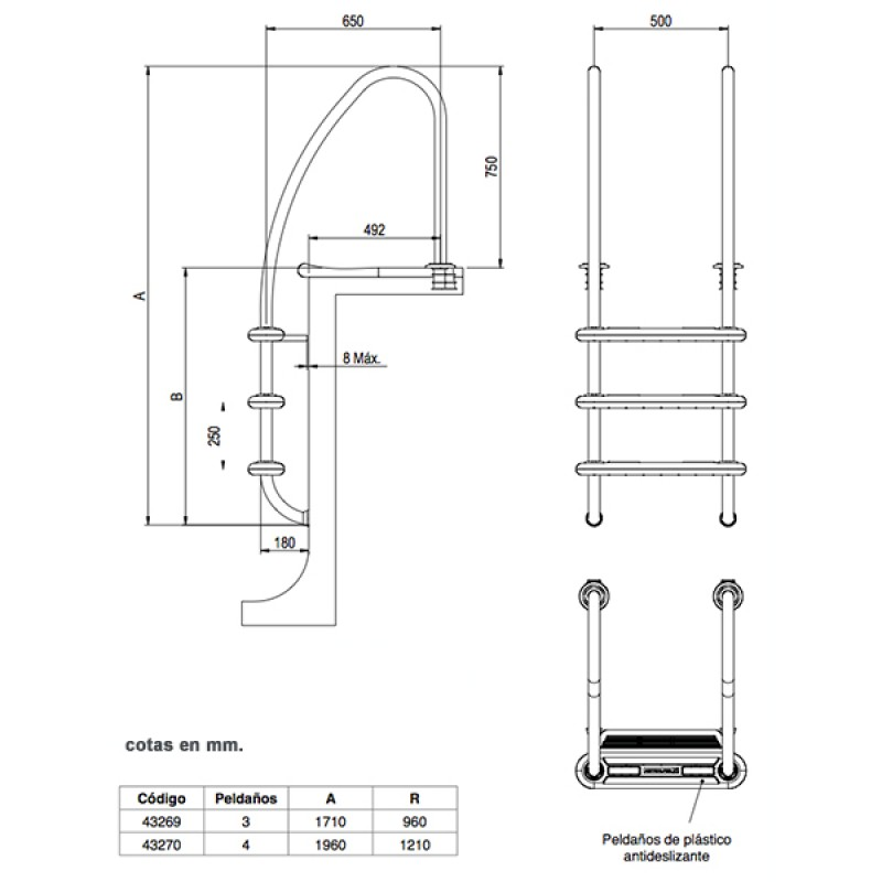 Echelle Komfort 650 Astralpool - Dimensions