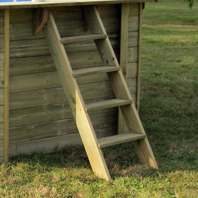 Piscina de madera Ovalada Gre Vermela escalera