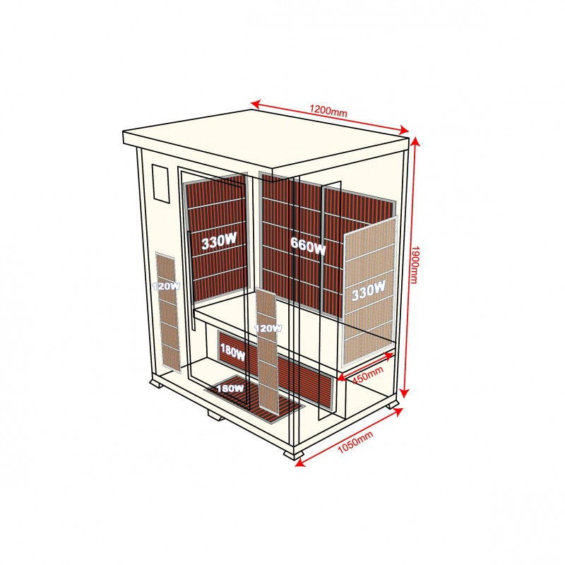 Sauna Infrarouge Luxe 2 places