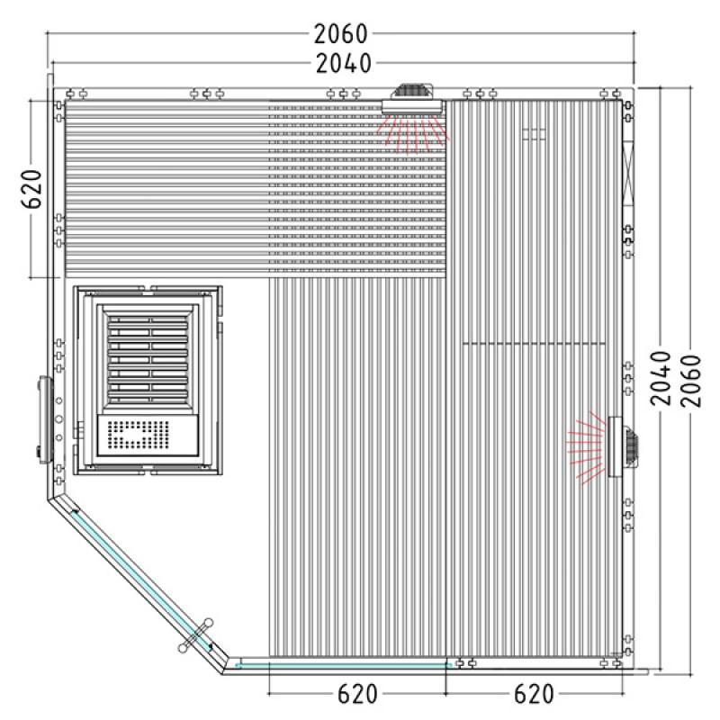 Plan Sauna Alaska Corner Kombi