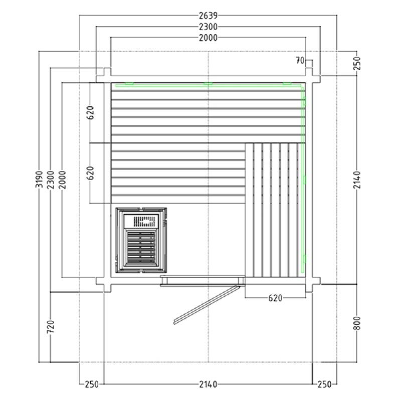 Plan du Sauna d'Extérieur à Vapeur Country
