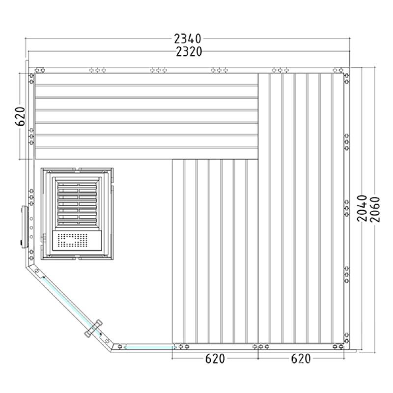 Plan Sauna Vapeur Komfort Corner Large