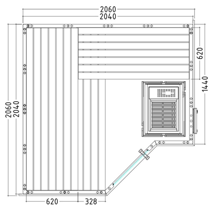Sauna Vapeur Polaris Small Plan