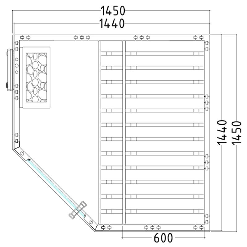 Plan du Sauna à Vapeur Wellfun Mini