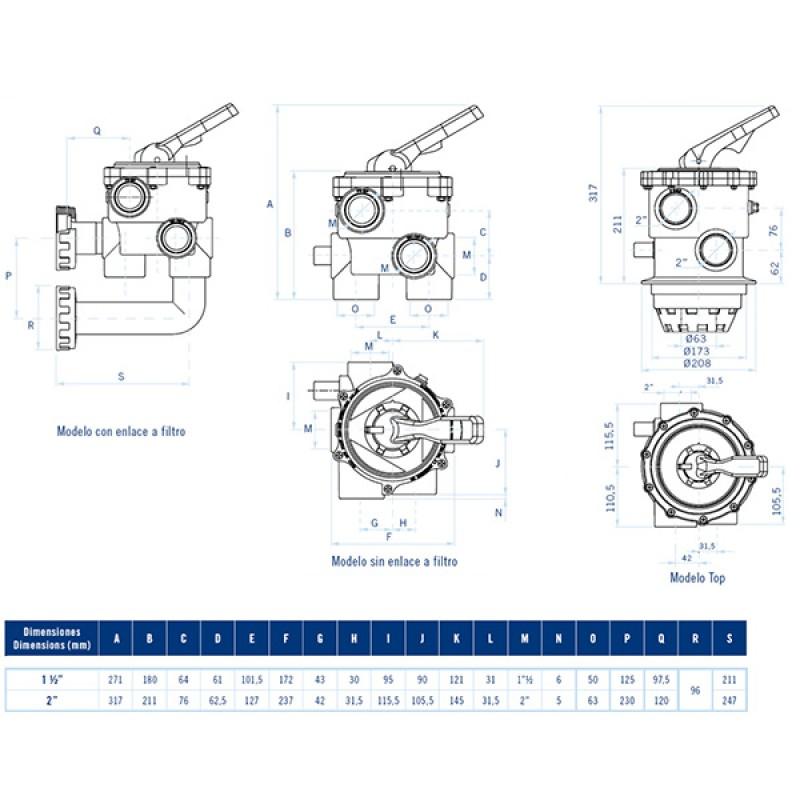 Vanne Multivoies Classique AstralPool - Dimensions